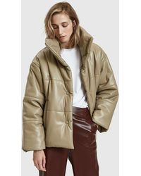 Nanushka - Hide Vegan Leather Puffer Coat In Sand - Lyst