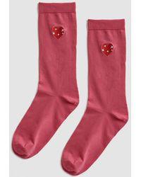 Ganni - Classon Embroidery Socks - Lyst