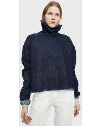 Ashley Rowe - Denim Turtleneck Top In Dark - Lyst