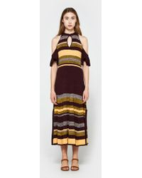 Apiece Apart - Knit Cold Shoulder Dress In August Sky Stripe - Lyst