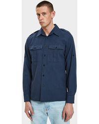 Dries Van Noten - Twill Shirt In Navy - Lyst