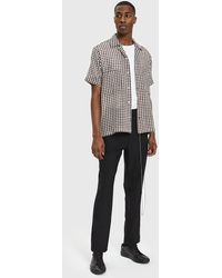 Cmmn Swdn - Dexter Open Collar Shirt In White Brown Check - Lyst
