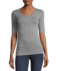 Neiman Marcus - Half-sleeve Scoop-neck Top - Lyst