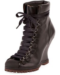 Chloé - Leather Lace-up Wedge Hiker Bootie - Lyst