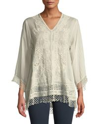 Johnny Was - Assic V-neck Top With Lace Trim - Lyst