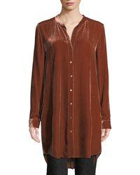 Eileen Fisher - Long Washable Velvet Tunic Top - Lyst
