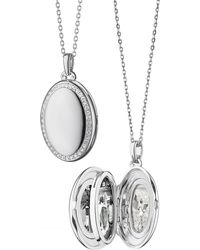 Monica Rich Kosann - Sterling Silver Midi 4-image Locket Necklace With White Sapphires - Lyst