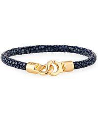 Brace Humanity - Men's Stingray Shagreen Bracelet Navy/golden - Lyst
