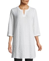 Eileen Fisher - Grid-texture 3/4-sleeve Organic Cotton Voile Tunic - Lyst