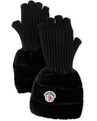 Moncler - Fingerless Ribbed Wool Gloves W/velvet Puffer Combo - Lyst