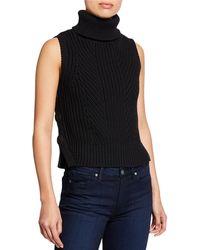 10 Crosby Derek Lam - Sleeveless Chunky Turtleneck Sweater W/ Buttons - Lyst