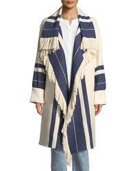 Chloé - Fringed Striped Cotton-wool Blanket Coat - Lyst