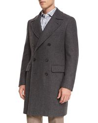 Isaia - Double-breasted Herringbone Wool Topcoat - Lyst