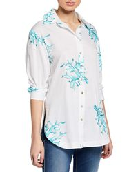 Finley - Plus Size Coral Reef Button-down Cotton Shirt - Lyst