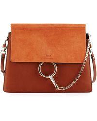 Chloé - Faye Medium Leather & Suede Shoulder Bag - Lyst