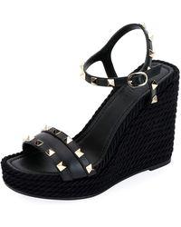 4968dec87519 Valentino - Rockstud Leather Wedge Sandals - Lyst