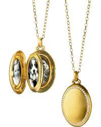 Monica Rich Kosann - 18k Gold Premier Satin-finish Locket Necklace With Diamonds - Lyst