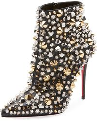 8bd94d8132b Christian Louboutin - So Full Kate Studded Napa Red Sole Booties - Lyst