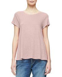 Eileen Fisher - Short-sleeve Organic Linen Jersey Tee - Lyst