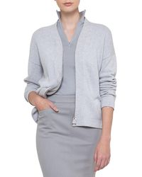 Akris - Long-sleeve Zip-front Cashmere Cardigan - Lyst