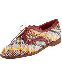 Manolo Blahnik - Majorella Multicolor Woven Leather Oxford - Lyst