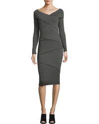 Bailey 44 | Edamame V-neck Striped Body-con Midi Dress | Lyst
