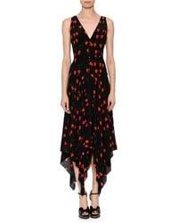 Alexander McQueen V-neck Petal-print Silk Crepe De Chine Dress With Handkerchief Hem - Black