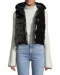 Theory Shiny Hooded Shrunken Puffer Vest
