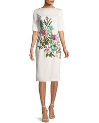 Lela Rose - Claire Elbow-sleeve Floral-print Stretch-cotton Dress - Lyst
