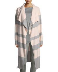 St. John - Striped Felted Long Coat - Lyst