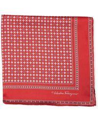 Ferragamo | Floral Gancio Silk Twill Pocket Square | Lyst