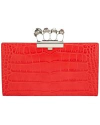 Alexander McQueen - Jeweled Four Ring Crocodile-embossed Clutch Bag - Lyst