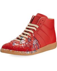 Maison Margiela | Replica Paint-splatter Leather Mid-top Sneaker | Lyst