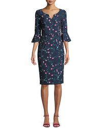 David Meister | Mini Floral Trumpet-sleeve Belted Dress | Lyst