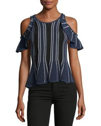 Jonathan Simkhai - Crewneck Cold-shoulder Knit Top W/ Ruffled Frills - Lyst