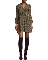 10 Crosby Derek Lam - Bell-sleeve Cascade-ruffle Printed Silk A-line Dress - Lyst