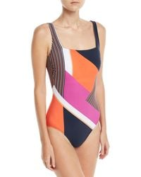 6eaa1409ae Lyst - Gottex Martime Square-neck Mixed-print One-piece Swimsuit in Blue