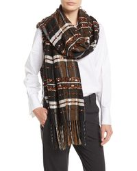 Brunello Cucinelli - Mohair-alpaca Plaid Blanket Scarf W/ Paillettes - Lyst