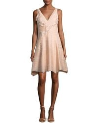 Notte by Marchesa - Sleeveless V-neck Crinkled Chiffon Cocktail Dress - Lyst