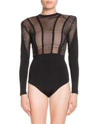 Balmain - High-neck Long-sleeve Mesh-top Bodysuit - Lyst