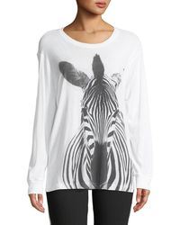 Norma Kamali - Long-sleeve Crewneck Zebra-print Cotton Tee - Lyst