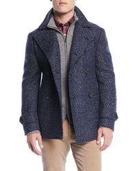 Isaia - Men's Boucle Wool-blend Pea Coat - Lyst