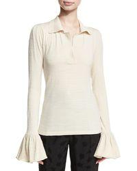 Co. - Bell-sleeve Silk-blend Polo - Lyst
