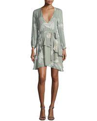 Halston - Long-sleeve V-neck Printed Silk Flounce Dress - Lyst