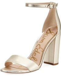 428331ab39a0 Sam Edelman - Yaro Metallic Block-heel Sandals - Lyst