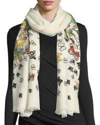 Janavi - Embellished Butterfly Wool Stole - Lyst