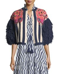 Figue - Fringed-sleeve Intarsia-stripe Alpaca Cardigan With Embroidery - Lyst