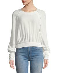 Bardot - Tie-back Button Long-sleeve Blouse - Lyst
