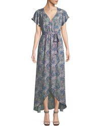 Ella Moss - Floral-print Short-sleeve Maxi Wrap Dress - Lyst