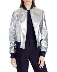Ralph Lauren Collection - Juliet Beaded-embellished Metallic Lamb Leather Bomber Jacket - Lyst